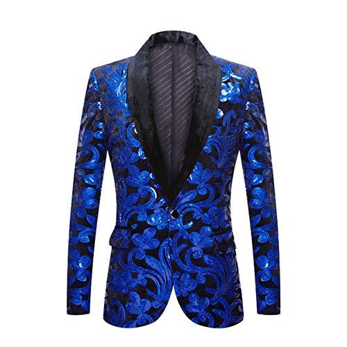 PYJTRL Men Fashion Velvet Sequins Floral Pattern Suit Jacket Blazer (Navy Blue, S)