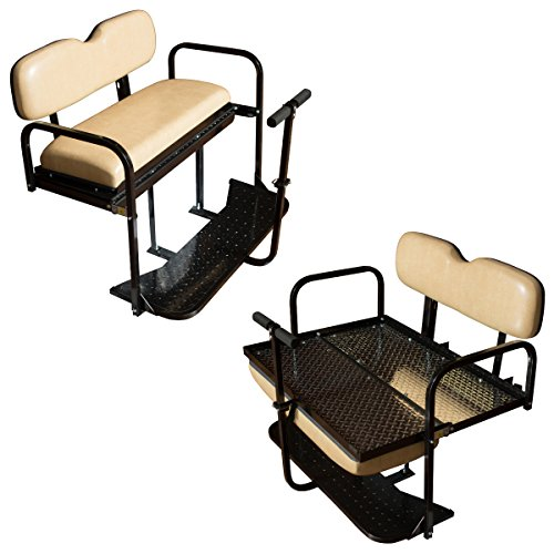 Performance Plus Carts EZGO TXT Golf Cart Rear Flip Back Seat Kit - Factory Tan (Fits 1995-2013)