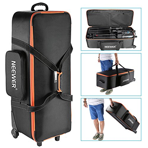 Neewer Photo Studio Equipment Trolley Carry Bag 38x15x11/96x39x29cm with Straps Padded Compartment Wheel, Handle for Light Stand, Tripod, Strobe Light, Umbrella, Photo Studio and Other Accessories