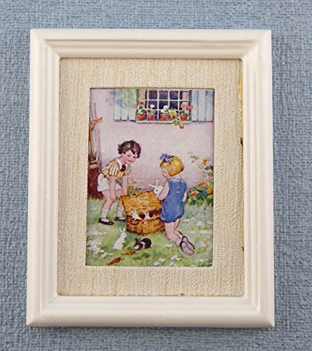 Melody Jane Poupées Miniature Enfants & Lapins Peinture Cadre Blanc