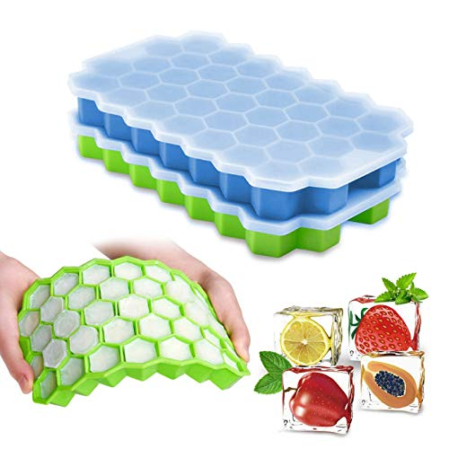 Ice Cube Trays with Lids, Henglisam 2 Pack 74 Ice Cubes Food Grade Silicone BPA Free Spill-Resistant Easy-Release Stackable Ice Cube Molds for Chilled Drinks Whiskey Cocktails