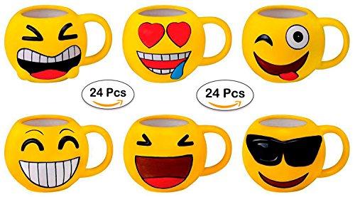 DISOK Lote 24 Tazas Emoticonos - Regalos de Comuniones Niñ