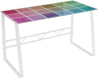 Escritorio Blanco de Cristal Templado y Metal de diseño de 120x60x75 cm - LOLAhome