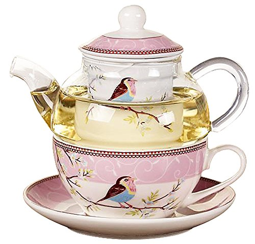 Why Should You Buy Jusalpha Glass Teapot with a Fine China Infuser Strainer, Cup and Saucer Set,Teap...
