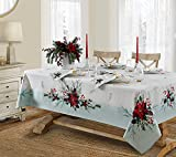Lintex Holly Bough Stonewashed Border Traditional Christmas Tablecloth, Poinsettia and Holly Sprig...