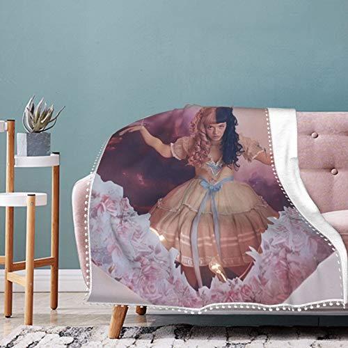 Me-la-nie Mar-tinez Soft Blanket Pom Pom Fringe Throw Blanket Lightweight Blankets for All-Season, Black, 60x50in