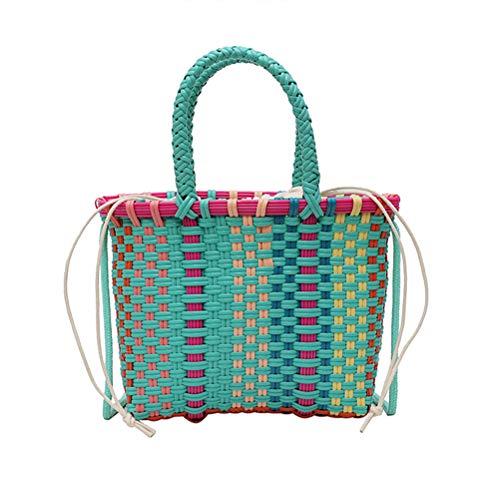 Gehäkelte Handtasche in gemischten Farben Checked Single Shoulder Bucket Bag Stroh Geflecht Gemüsekorb Tasche