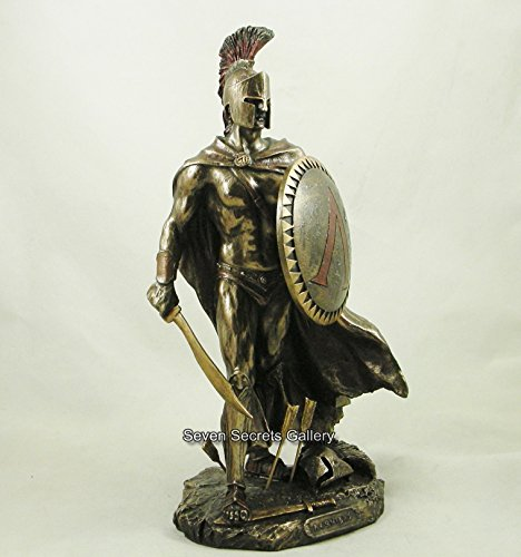 Spartaner-Statuette Leonidas, König von Sparta, bronzierte Deko-Skulptur
