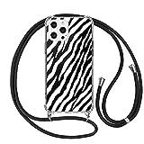ZhuoFan Funda con Cuerda para iPhone 7 Plus / 8 Plus Carcasa Transparente con Dibujos PC et TPU Suave Silicona Case con Correa Colgante Antigolpes Fundas para iPhone 8/7 Plus Cuerda Negra, 08 Cebra