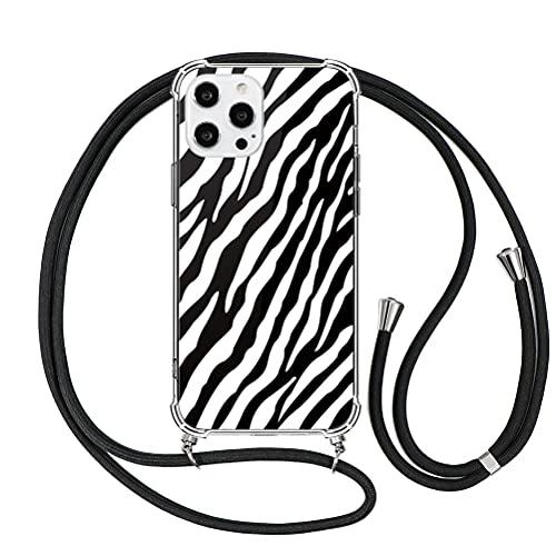 ZhuoFan Funda con Cuerda para Huawei P20 Pro Carcasa Transparente con Dibujos PC et TPU Suave Silicona Case con Correa Colgante Ajustable Antigolpes Fundas para Huawei P20 Pro Cuerda Negra, 08 Cebra