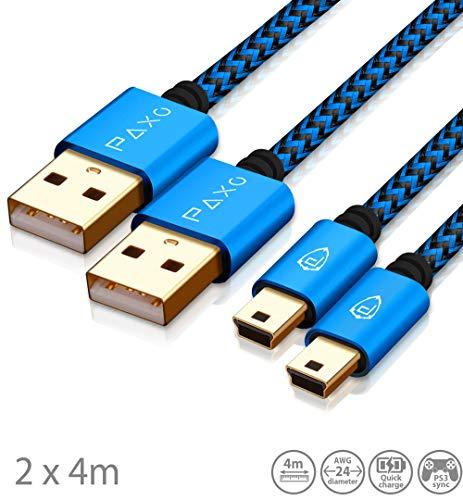 2 x 4m câble de Chargement pour contrôleur PS3, câble USB à Mini USB Long, câble tressé (tressé), plaqué Or, Bleu/Noir
