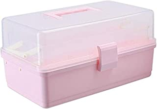 AINIYF Drug Box Storage Box Small Medicine Box Lock Box Storage Box Multi-Layer First Aid Kit Medicine Storage Box (Color : Pink)