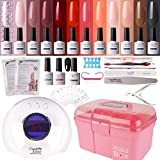 Gel Nail Polish Kit with 36W Lamp - Candy Lover 10ml Golden Age Colors with Base Top Coat Matte Top UV/LED Nail Gel Polish Set, Winter Spring Nail Art Accessories Free Storage Box Starter Gift SK-03