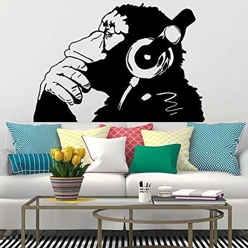 Abstrakt Banksy Stil Vinyl Wandaufkleber Kreative Affe Orang-Utan Mit Kopfhörern Genießen Sie Musik DIY Kunst Aufkleber Poster Schlafzimmer Home Decoration Kids Boy Geschenk 112 * 158cm