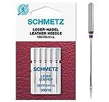 SCHMETZ Nähmaschinennadeln: 5 Leder-Nadeln, Nadeldicke 100/16, 130/705 H LL, auf jeder gängigen Haushaltsnähmaschine einsetzbar