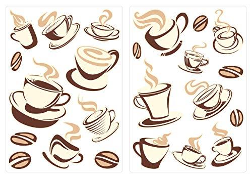 dekodino® Wandtattoo Kaffeetassen Set Küchen Esszimmer Deko