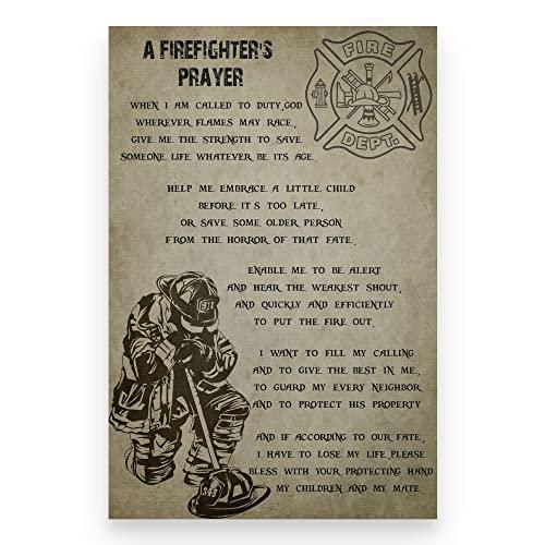 Poster mit Feuerwehrmann-Gebet, amerikanische Flagge, Geschichte des #amerikanischen Feuerwehrmann-Drucks, Feuerwehrmann & Gebete, Wandkunst, kein Rahmen, 61 x 91 cm