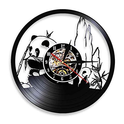 WWZY Reloj Silencioso De Registro Panda Vinilo Creatividad Pared Decoración Familiar 3D Diseño Arte Vintage Relojs Decor del Hogar Regalo