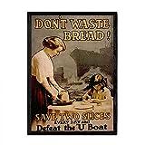 Nacnic Vintage Poster Brot verschwenden. Blätter für
