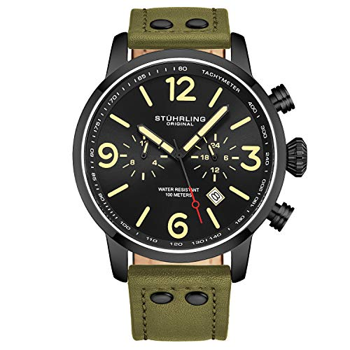 Stuhrling Original Mens Green Leather Dress Watch - Aviator Watch with Date and Leather Strap Pilot Watch Duel Time and 24 Hour Subdial Tachymeter Watches for Men Collection
