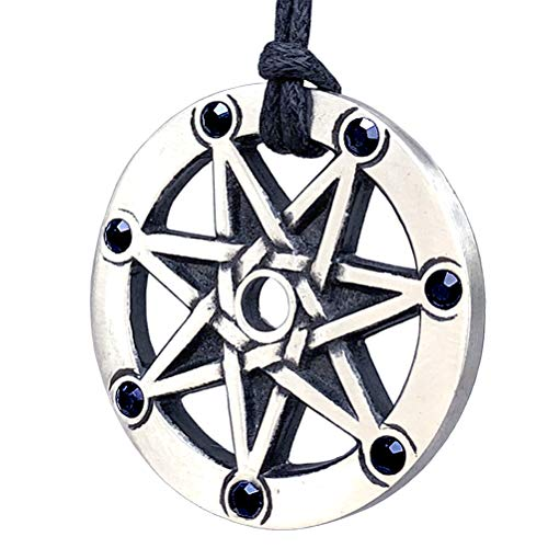 Magic Pagan Jewelry Septagram 7 Pointed Fairy Star Heptagram Silver Pewter Unisex Black Crystal Pendant Necklace Lucky Charm Protection Amulet Wicca Medallion travel Talisman w Black Adjustable Cord
