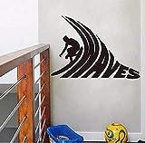 Surfer Riding - Surf Vinyl Vinilos Decorativos Surf Van Vinyl Wall Art Decals 57X50Cm