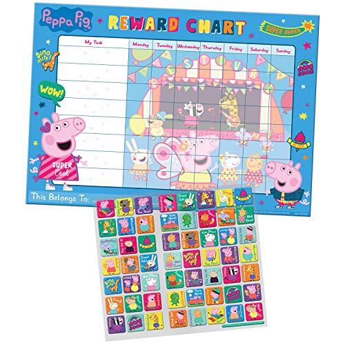 Paper Projects- Peppa Pig - Tabla de recompensa Diaria y 56 Pegatinas Brillantes Reutilizables (01.70.30.021)