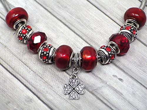 Collana Charms Rossa da Donna in Acciaio Inox Thurcolas Modello Manhattan con Pendente Trifoglio Set con Cristalli