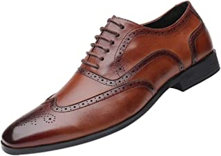 Fulision Men's Leather Shoes Business Casual Breathable Leather Shoes Leather Dress Shoes with wear-Resistant Oxford Shoes