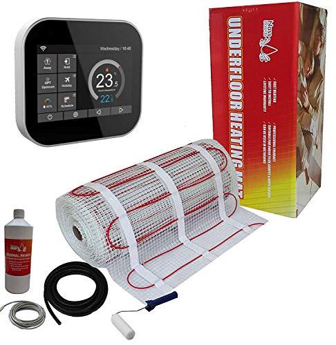 Nassboards Premium Pro – Set Voor Vloerverwarming Elektrisch 150 W per m2 - Zwarte Slimme Thermostaat Wifi - 3m2