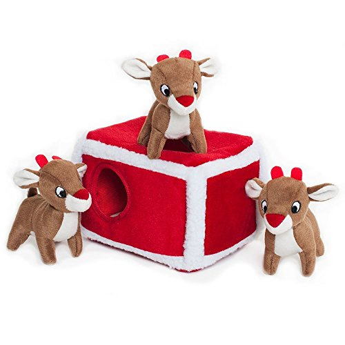 ZippyPaws - Holiday Burrow, Interactive Squeaky Hide and Seek Plush Dog Toy - Reindeer Pen