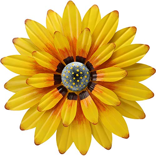 """ANYUETE Metal Sunflower Wall Decor 12"""" Flower Wall Art Decorations Wall Sculpture Hanging for Bathroom Home Kitchen Farmhouse Living Room Indoor or Outdoor Bedroom (Yellow)"""
