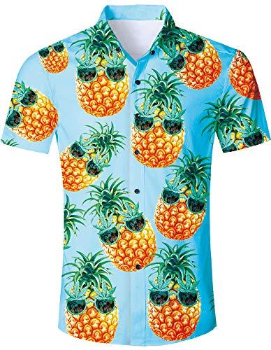 Men's Hawaiian Shirt Blue Pineapple Glass Print Tropical Beach Aloha Shirt Casual Button Down Short Sleeve Dress Shirt