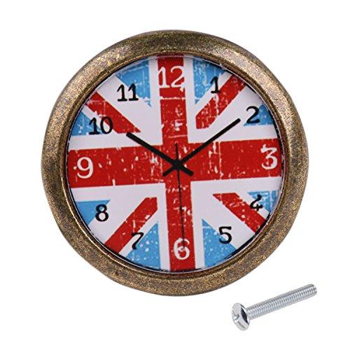 Homyl Kreative Möbelknöpfe Schrankknöpfe mit Befestigungschrauben in Uhr-Design - Britische Flagge, 35mm
