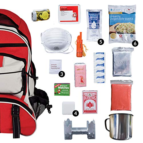 Wise Company Survival Kit, Food and Emergency Supply Backpack, Red