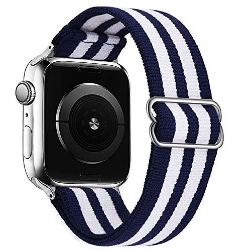 VISOOM Stretchy Band Compatible with Apple Watch band 38mm 40mm 42mm 44mm-Apple Watch Strap for iWatch Series 6/SE/5/4/3/2/1 Accessories Elastics Sports Replacement for Men Women (Blue and white stripes, 38mm/40mm)