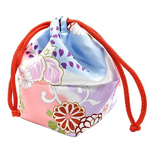 F Fityle Cherry Blossom Borsa Giapponese con Coulisse Donne Kawaii Party Kimono Trucco Portamonete Borsa per Il Pranzo a casa Bento Box Custodia per Telefono - Blu Rosa