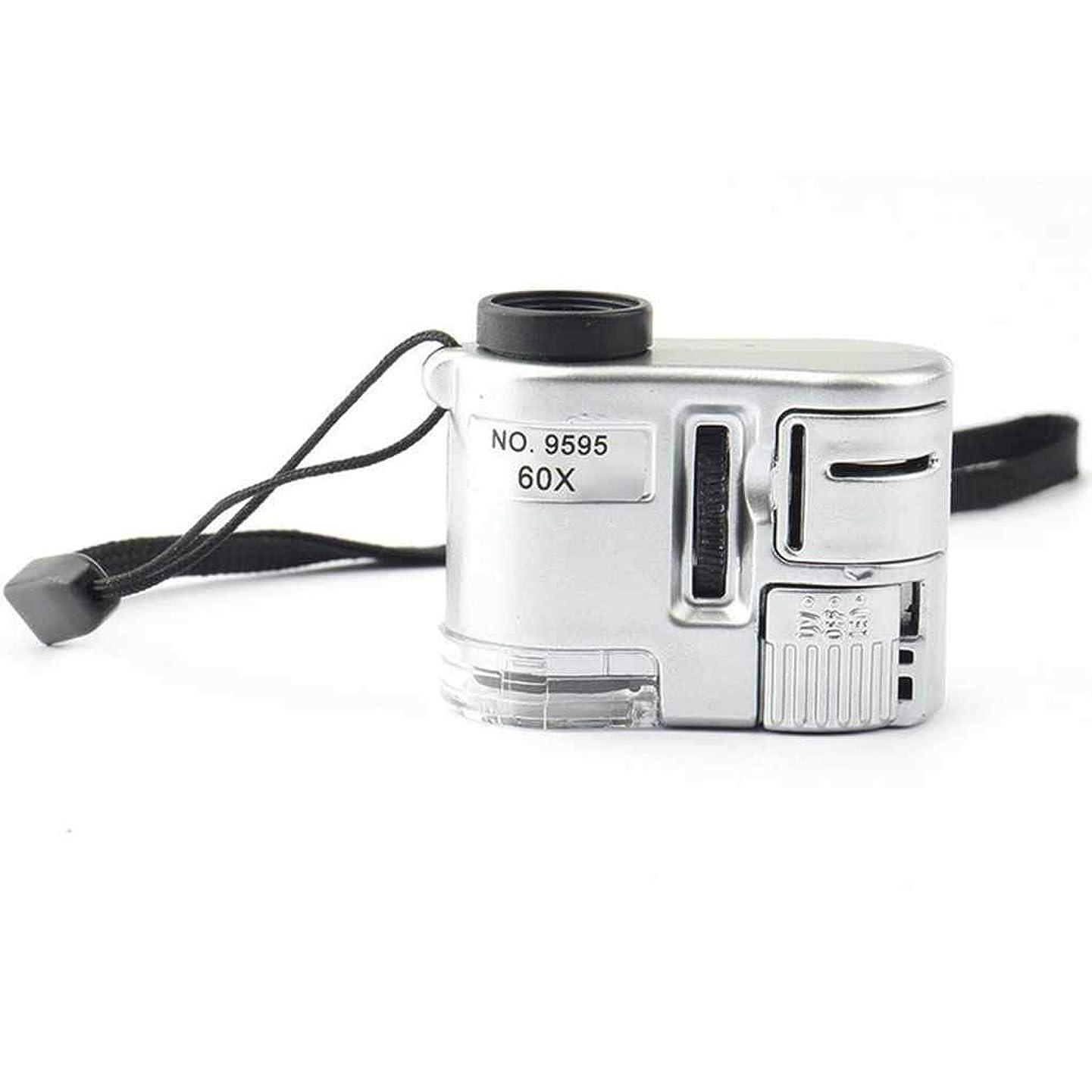 どこでも潜む観光に行くArichops ユニバーサル 60X LED 顕微鏡 ミニ ポータブル UVライト 顕微鏡 ジュエリー 拡大鏡 ハンドストリング付き 【迅速対応】