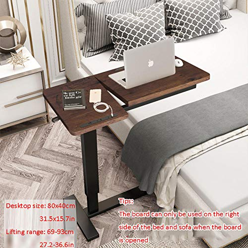 Steel Tube Fold Away Desk with Brown Density Board,Adjustable Height, Casters, USB, Swivel,Small Laptop Table for Eat, Read