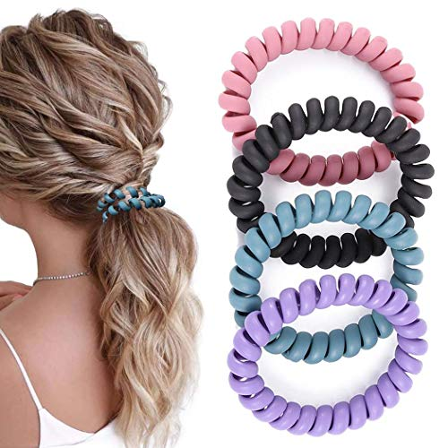 Yalice Spiral Hair Ties Elastic Hair Coils Plastic Hair Scrunchie Ponytail Holder Stretchy Hair Bands for Women and Girls (Pack of 8) (Colorful-3)