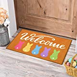 Welcome Doormat Bunny Peeps Spring Gift Indoor Outdoor Home Front Porch Rugs Greetings Party Decoration Supplies 18 x 30 Inches