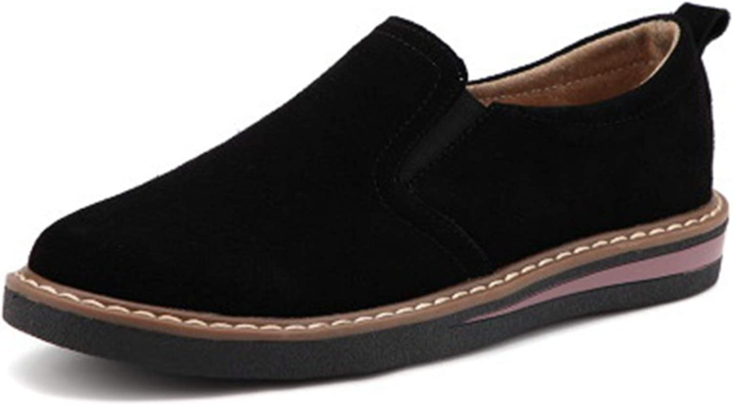 Greuses 2019 Spring Women Flats Sneakers shoes Women Slip On Flat Loafers Suede Leather shoes Handmade Boat shoes Black Oxfords