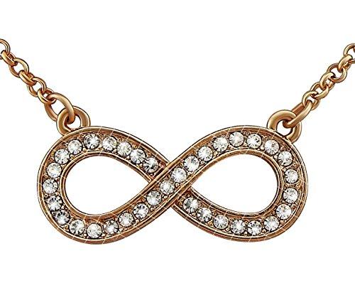 veuer joyas para mujer dorado collar de cadena colgante de efecto Infinito en Rosé de oro chapado en oro con brillantes regalo de Navidad para mujeres, la amiga, EHE de mujer vf241