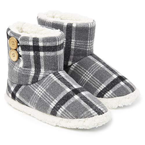 Dunlop Zapatillas Casa Mujer | Zapatillas Calienta Pies Invierno Cerradas | Pantuflas de Casa Regalo para Mujer | Botas Altas Forradas de Borreguito Suela de Goma Dura (39 EU, Gris Blanco)