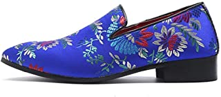HongJie Hou Driving Loafers for Men Walking Shoes Slip On Satin Upper Pointed Toe Chinese Embroidery Flowers Pattern Block Heel Vintage (Color : Blue, Size : 9 UK)
