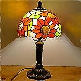 Lámpara de mesa Tiffany Sun Flower lampshape E27, lámpara de base de resina, lámpara de mesa retro creativa, A, 110 V, enchufe americano