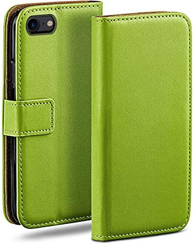 moex Klapphülle kompatibel mit iPhone 7 / iPhone 8 Hülle klappbar, Handyhülle mit Kartenfach, 360 Grad Flip Hülle, Vegan Leder Handytasche, Grün