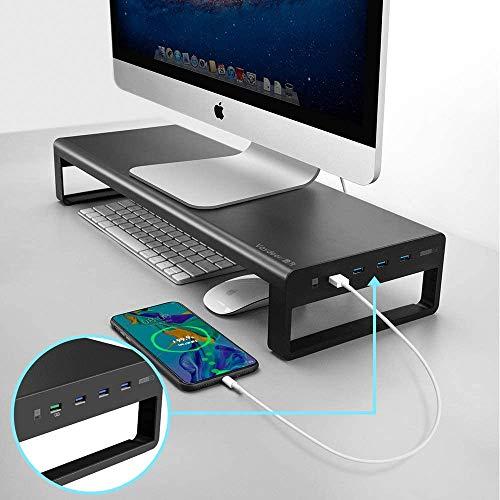 Alluminio del Supporto Monitor con Fast Ricarica E USB 3.0 Hub, Coumputer iMac Stand MacBook Stand Riser Contiene 32In Monitor 66 Lbs Bagagli per Magic Keyboard & Mouse