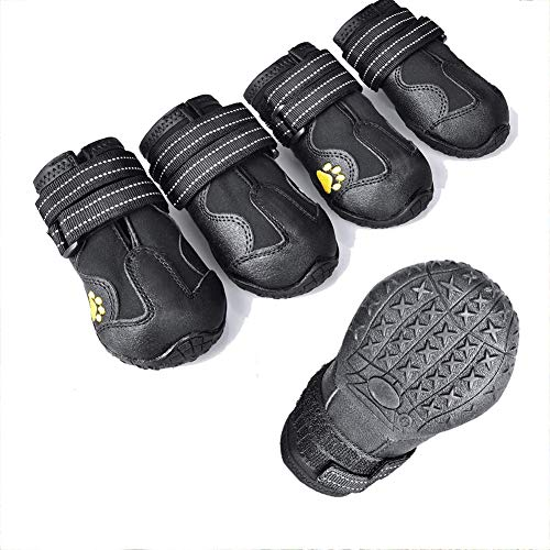 ZXM Dog Boots Waterproof Shoes with Reflective Velcro Rugged Anti-Slip Sole and Skid-Proof for Medium to Large Dogs 4Ps Dog Paw Protection (Size B)