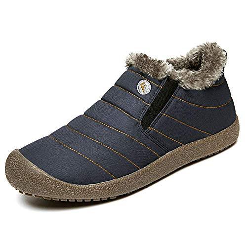 SITAILE Snow Boots, Women Men Fur Lined Waterproof Winter Outdoor Slippers Slip On Ankle Snow Booties Sneakers Blue Short Size 8 Women/7 Men